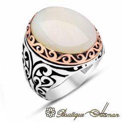 Classic White Onyx Silver Men Rings
