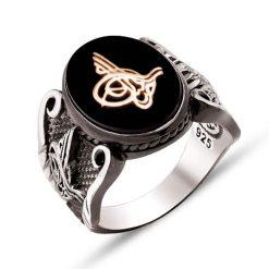 Oval Black Onyx Stone Tughra Silver Men Ring