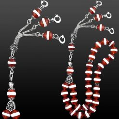 Agate Stone Red and White Prayer Beads