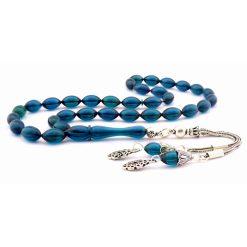 Amber Stone Blue Prayer Beads