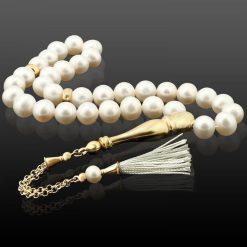 Pearl Stone Tassel White Prayer Beads