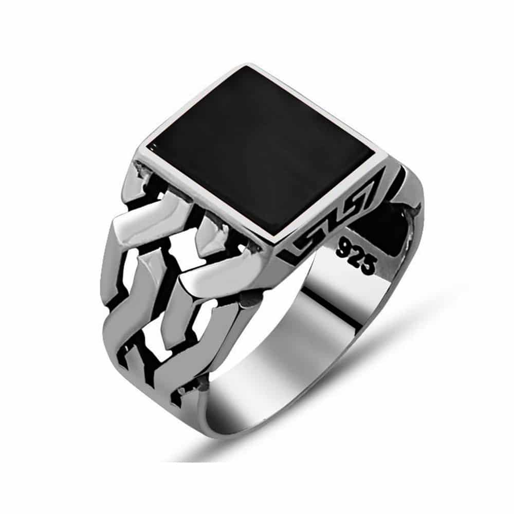 color wedding square onix for product stainless men onyx steel jewelry ring diamond engagement black rings women s from with