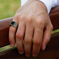 Green Square Aqeeq Silver Men's Ring