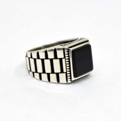 Black-Square-Onyx-Silver-Men's-Ring-1