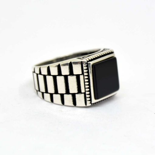 Black-Square-Onyx-Silver-Men's-Ring-1