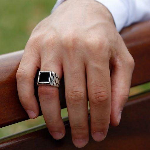 Black Square Onyx Silver Men's Ring