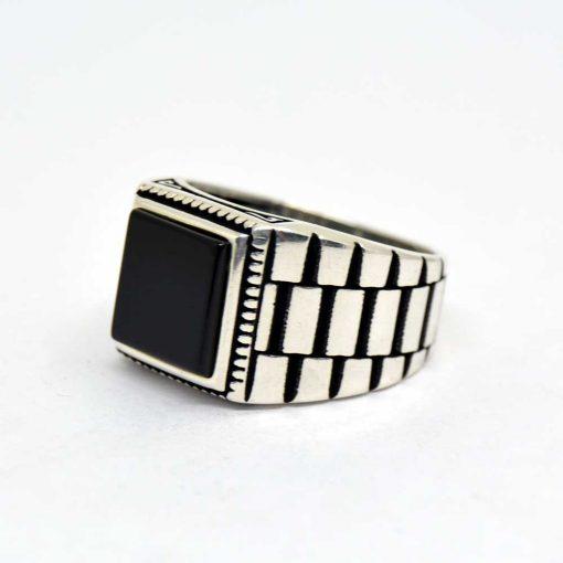 Black-Square-Onyx-Silver-Men's-Ring-3