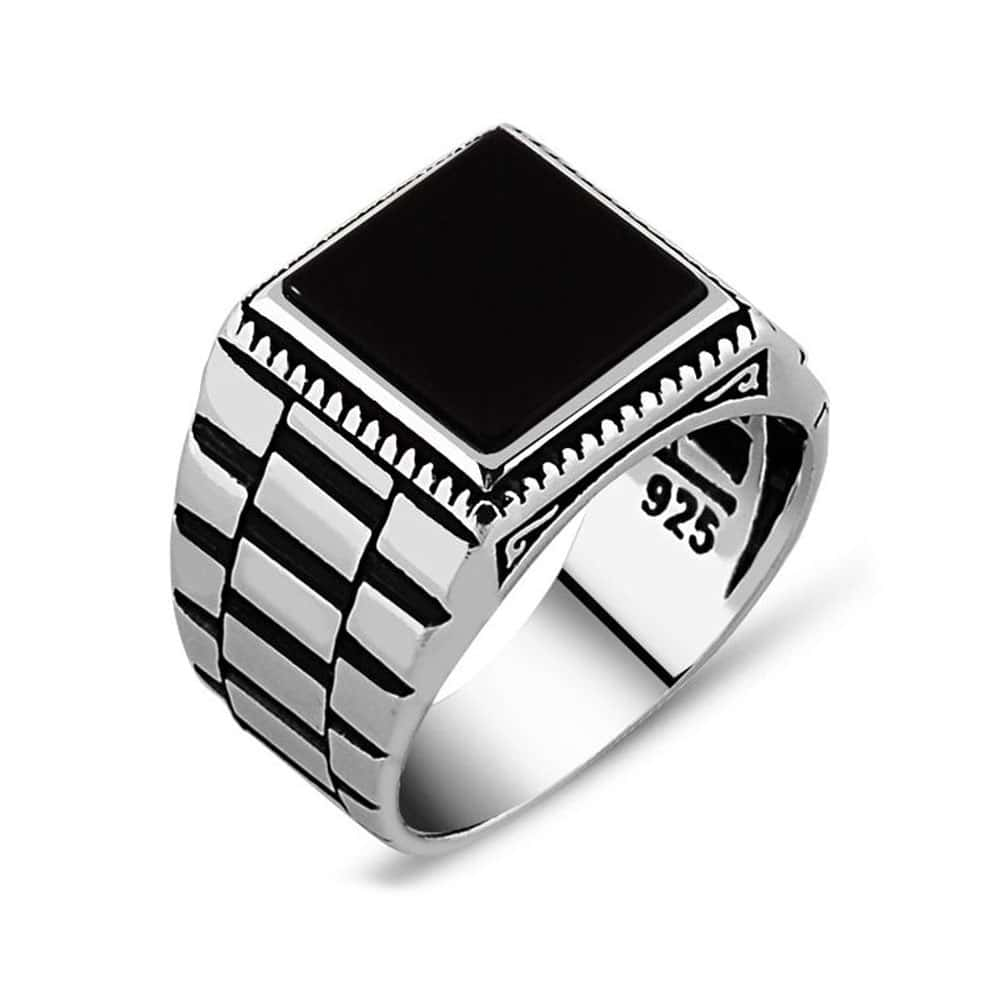 mens grooved steel sgp row jewellery stainless cz ring square jewelry two geometric bling