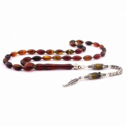 Brown Amber Misbaha With Silver Imame