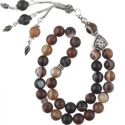Brown Aqeeq Stone Silver Prayer Beads
