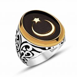 Crescent Star Black Men Ring