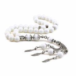 White Pearl Stone White Prayer Beads