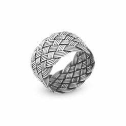 Handmade Kazaz Silver Knot Ring Wide-10