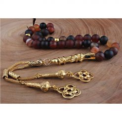 Striped Agate Stone Black Prayer Beads