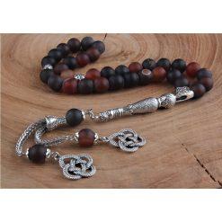 Striped Agate Stone Silver Prayer Beads