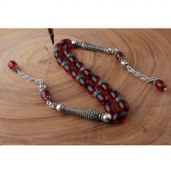 Red Amber Stone Silver Swing Tasbih
