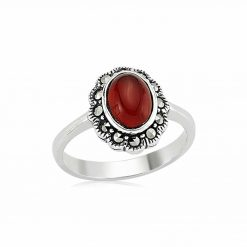 Oval Agate Stone Silver Ring