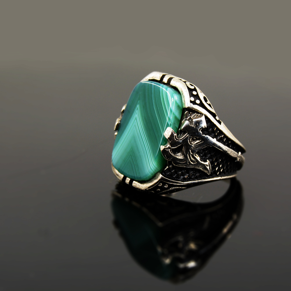 stone gemstone with four antique resin women silver new ring brand vintage s simulated color product store men turquoise rings