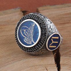 Zircon Stone Silver Tughra Design Blue Men Ring