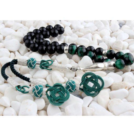 Green Tiger's Eye and Onyx Stone Misbaha With Kazaz Imame
