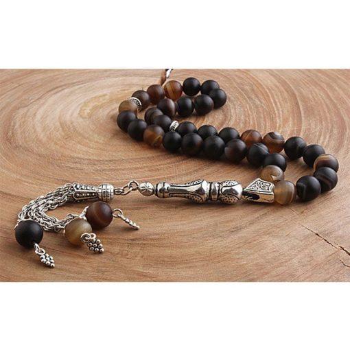 Dark Agate Stone Silver Prayer Beads