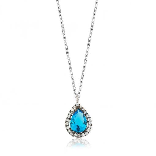 Blue Drop Silver Necklace