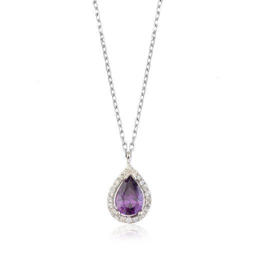 Purple Drop Silver Necklace