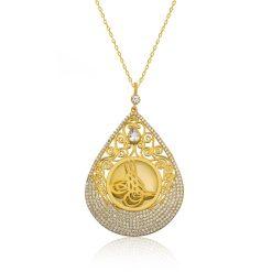 Drop Silver Tughra Necklace
