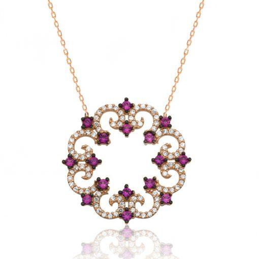 Silver Pink Flower Women Necklace
