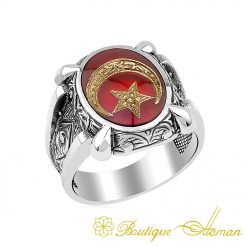 Crescent Star Islamic Hand Engraved Ring