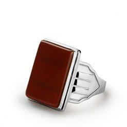 Red Aqeeq Stone Flat Silver Ring