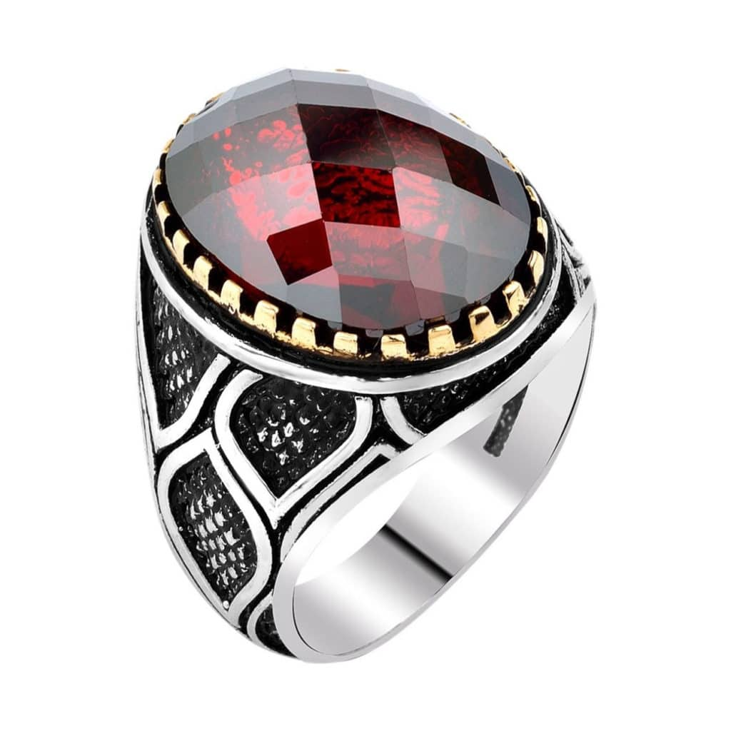 garnet rings engagement gothic adjustable women ring listing silver il zoom red isao fullxfull