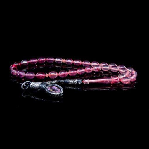 Pink Amber Tasbih With 1000 ct. Silver Kazaz Tassle-TG-1003
