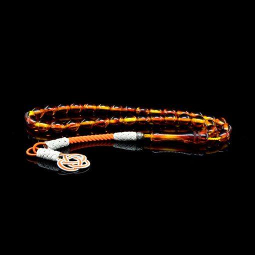 Orange Amber Tasbih With 1000 ct. Silver Kazaz Tassle-TG-1004