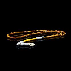 Yellow Amber Tasbih With 1000 ct. Silver Kazaz Tassle-TG-1008
