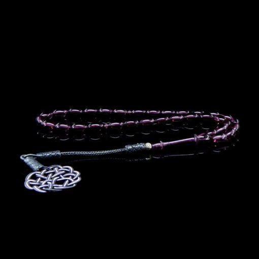 Purple Amber Tasbih With 1000 ct. Silver Kazaz Tassle-TG-1009