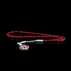 Red Amber Tasbih With 1000 ct. Silver Kazaz Tassle-TG-1011