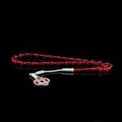 Red Amber Tasbih With 1000 ct. Silver Kazaz Tassle-TG-1011