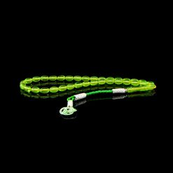 Green Amber Tasbih With 1000 ct. Silver Kazaz Tassle-TG-1012