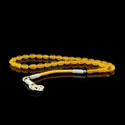 Yellow Amber Tasbih With 1000 ct. Silver Kazaz Tassle-TG-1016
