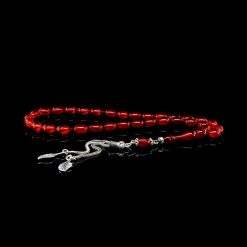 Red Amber Tasbih With 925 Sterling Silver Tassle-TG-1020