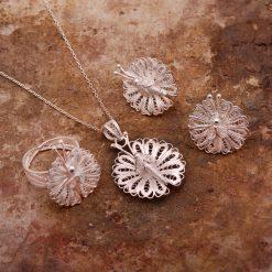 Butterfly Filigree Silver Set