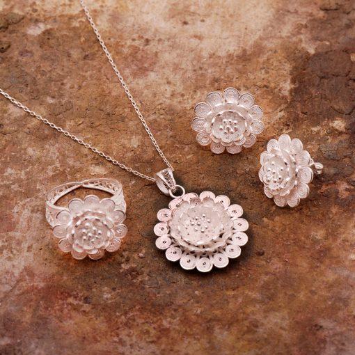 Camellia Filigree Silver Set
