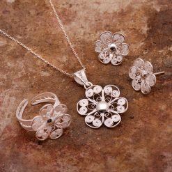 Daisy-3 Filigree Silver Set