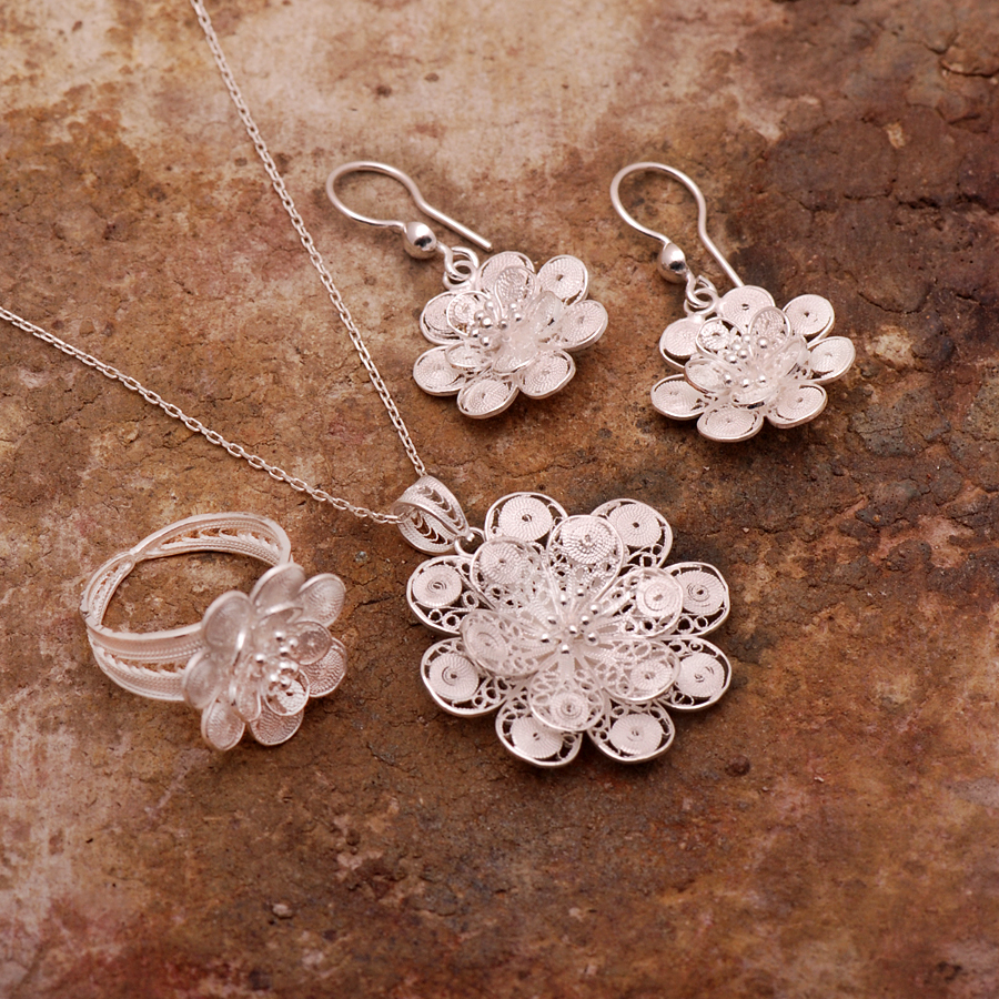 filigree azalea set product silver