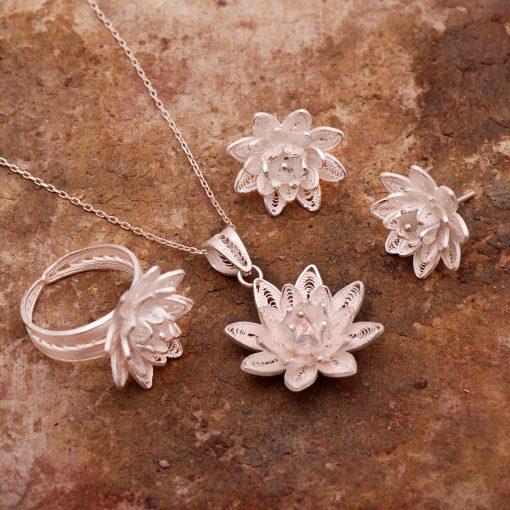 Lotus Filigree Silver Set