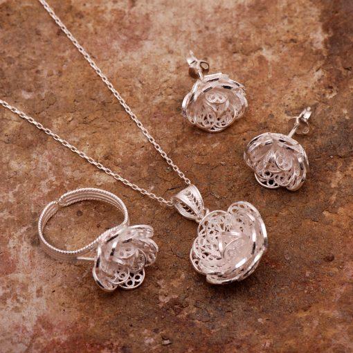 Rose Filigree Silver Set