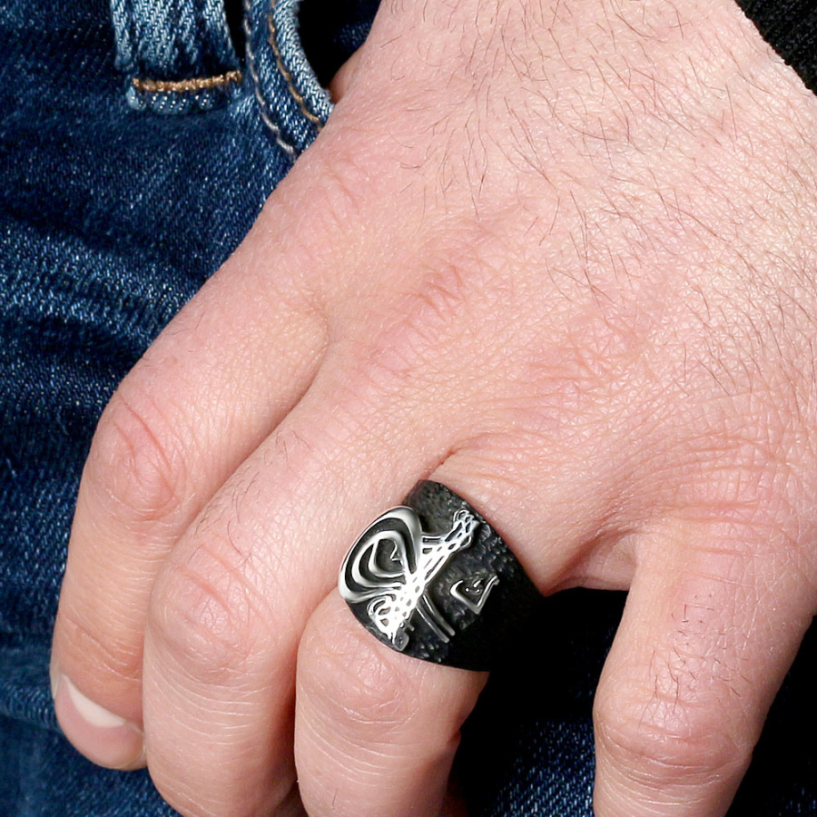 Black Tughra 925 Sterling Silver Ring - Boutique Ottoman Jewelry Store