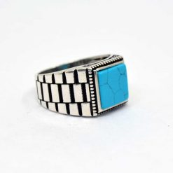 Blue-Turquoise-Square-Silver-Men's-Ring-1
