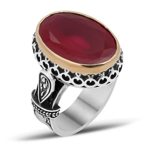 Crescent Star Frame Oval Ruby Ring